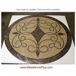 "Iron Works II, 36"" Polished Mosaic Floor Medallion"